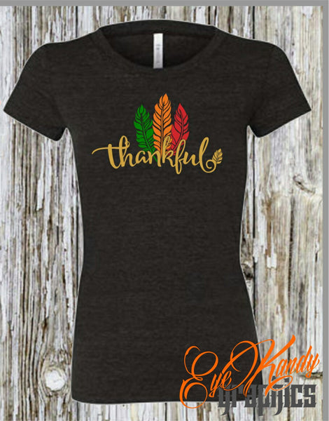 Thankful Feather Shirt - Cute Fall Shirts for Women - Womens Shirts for Fall - Vinyl Shirts