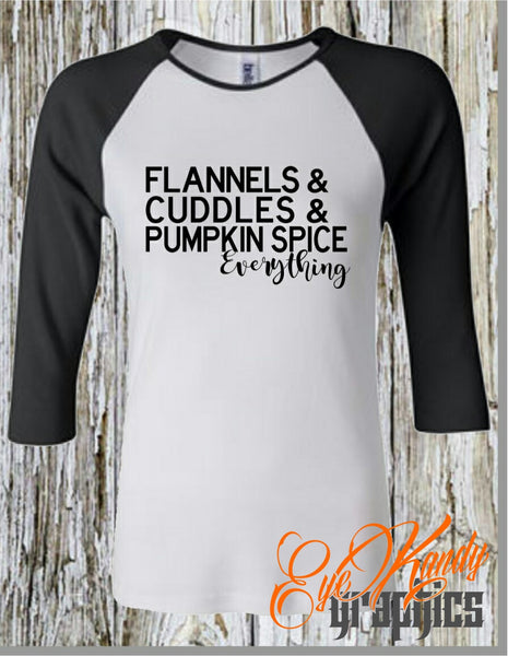 Flannels & Cuddles & Pumpkin Spice Everything Raglan Shirt - Cute Fall Shirts for Women