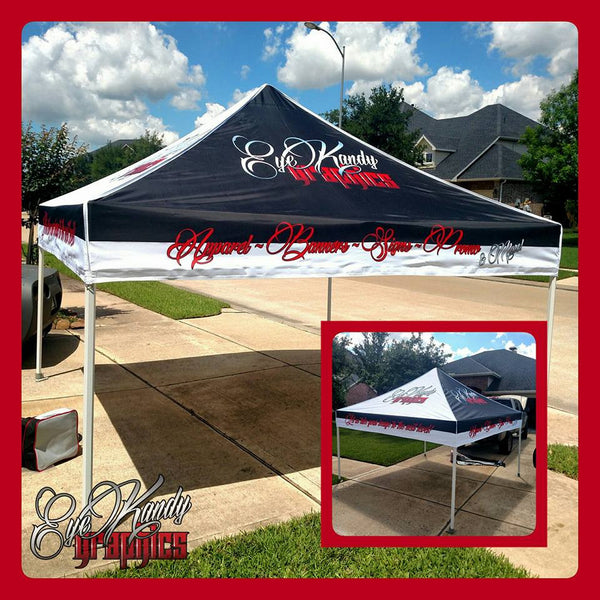 Custom Printed 10 x 10 EZ Up tent with commercial grade frame and back wall