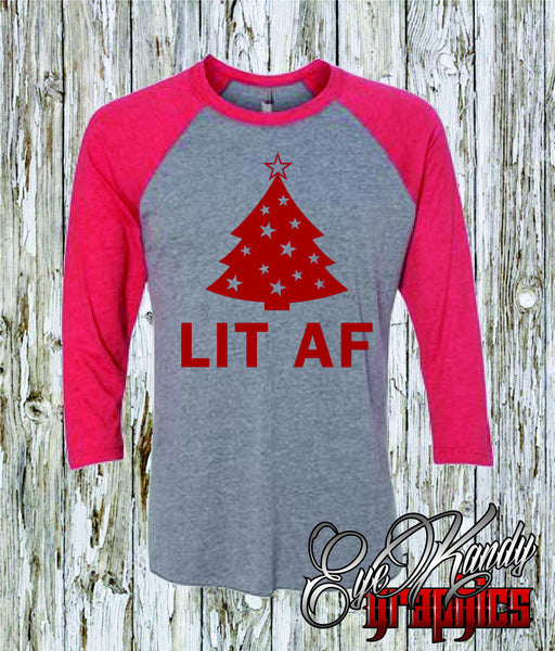 LIT AF Graphic Tees for Women & Men - Unisex Raglan - Lit Christmas Tree - Christmas Gifts