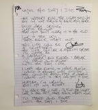 Signed - Inside The Catacombs - Handwritten Lyrics