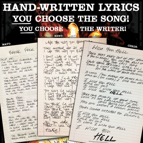 Hand Written Lyrics:  You choose the song!  You choose the writer!