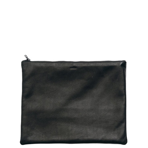 baggu large flat leather pouch