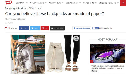 SPOT.PH Feature: Can you believe these backpacks are made of paper?