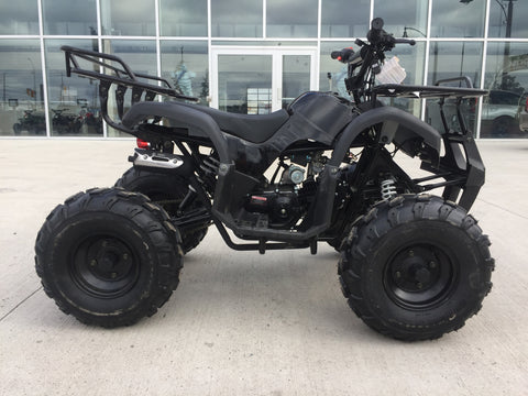 "Premium Ultimate Gas 125cc ATV Four Wheeler with Front & Rear Racks 8"" Big Tires Upgraded Exhaust Black"
