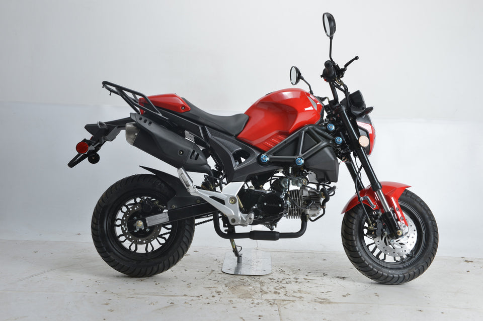 Boom SR3 BD125-8 side view monster 125cc motorcycle red