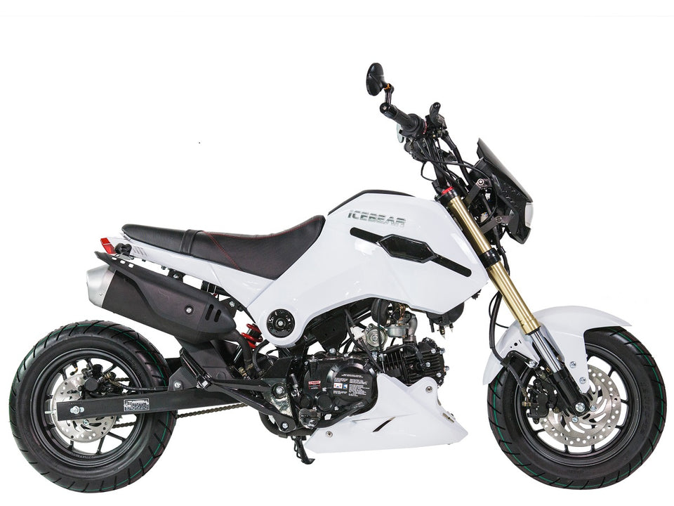 PMZ125-1 icebear fuerza 125cc motorcycle side view white