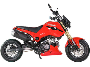 PMZ125-1 icebear fuerza 125cc motorcycle side view Red