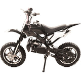 Black 49cc Premium Gas Dirt Bike Motocross 2-Stroke facing sideways with kick stand on in white background