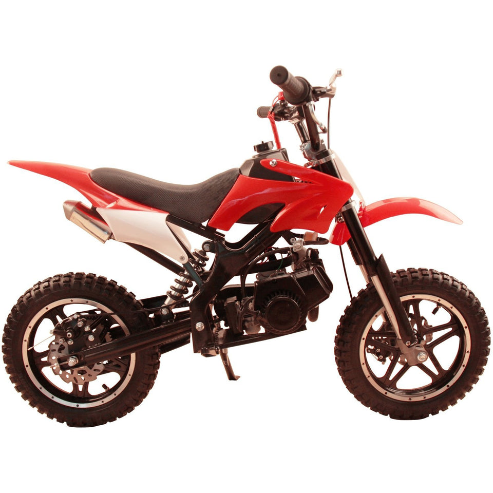 Red 49cc Premium Gas Dirt Bike Motocross 2-Stroke facing sideways showing 49cc engine with white background