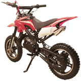 Red 49cc Premium Gas Dirt Bike Motocross 2-Stroke facing its rear revealing single exhaust pipe and kickstand with white background