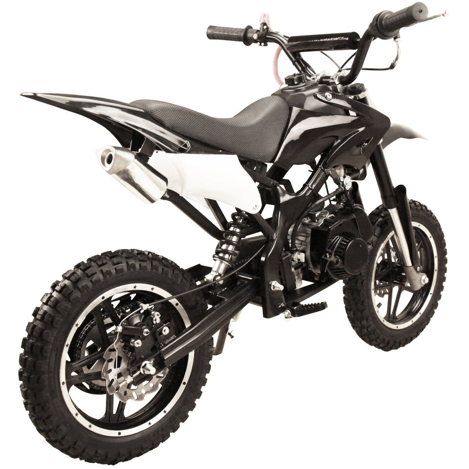 Black 49cc Premium Gas Dirt Bike Motocross 2-Stroke facing its rear revealing single exhaust pipe and rear disc brake with white background