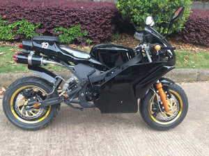 Venom Super Pocket Bike x19 Pocket Rocket 110cc in black color with gold rims and gold forks. Dual exhaust performance pipes and 19 on rear seat on right side