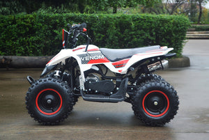 49cc Mini Quad ATV in red/white combo parked sideways revealing left side of ATV revealing matching red rims