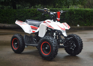 49cc Mini Quad ATV in red/white combo parked diagonally facing forward to the right closer look