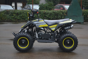 49cc Mini Quad ATV in yellow/black combo parked sideways showing its left side when sitting on the ATV. Free upgrade to matching yellow rims ($30 value) look nice.