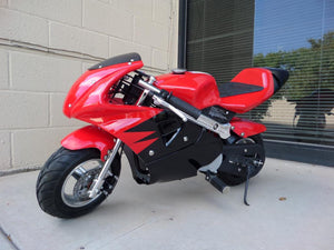 40cc Premium Gas Pocket Bike 4-Stroke in red/black combo facing forward revealing hand brake side. Red paint higher portion of pocket bike and black painting on lower portion of pocketbike