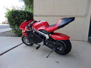 40cc Premium Gas Pocket Bike 4-Stroke in red/black combo facing backwards revealing hand brake side from the rear. Red paint higher portion of pocket bike and black painting on lower portion of pocketbike
