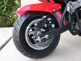 Red and black 40cc premium gas pocket bike 4-stroke rear tire close up