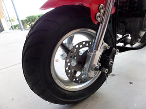 Red and black 40cc premium gas pocket bike 4-stroke front tire close up