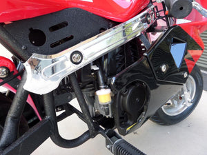 Red and black 40cc premium gas pocket bike 4-stroke engine close up and foot peg