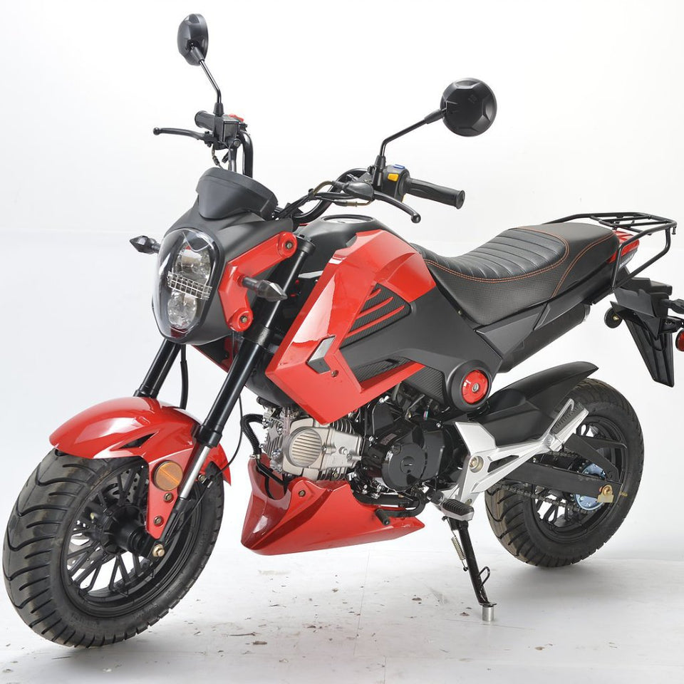 BD125-15 boom motorcycle Honda grom clone left side view red