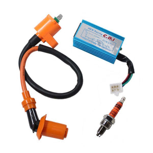 Pack of Racing Ignition Coil + 5-Pin Cdi Box + 3 Electrode Spark Plug