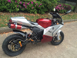 Venom Super Pocket Bike x19 Pocket Rocket 110cc in red and silver color combo sitting sideways with Honda / RR / 19 on the side. Matte black frame and red dual exhaust pipes