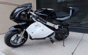 40cc Premium Gas Pocket Bike 4-Stroke in black/white combo facing forward revealing hand brake side. Black paint higher portion of pocket bike and white painting on lower portion of pocketbike