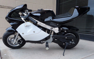 40cc Premium Gas Pocket Bike 4-Stroke in black/white combo sitting side ways revealing hand brake side, left foot peg, and kick stand. Black paint higher portion of pocket bike and white painting on lower portion of pocketbike