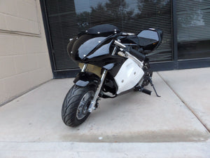 40cc Premium Gas Pocket Bike 4-Stroke in black/white combo facing forward revealing front tire and windshield.