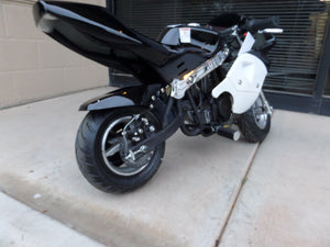 40cc Premium Gas Pocket Bike 4-Stroke in black/white combo rear of bike close up revealing rear tire and nice upgraded exhaust