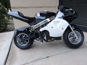 40cc Premium Gas Pocket Bike 4-Stroke in black/white combo sitting sideways revealing right foot peg and both tires (front and rear)