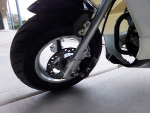 Black and White 40cc premium gas pocket bike 4-stroke front tire close up