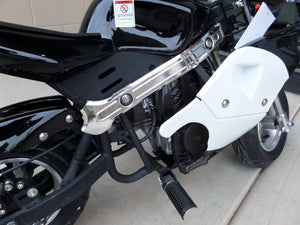 40cc Premium Gas Pocket Bike 4-Stroke in black/white combo sitting sideways revealing right foot peg close up