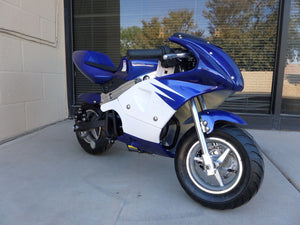 40cc Premium Gas Pocket Bike 4-Stroke in blue/white combo facing forward revealing throttle side