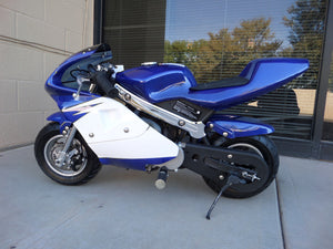 40cc Premium Gas Pocket Bike 4-Stroke in blue/white combo facing forward revealing hand brake side. Blue paint higher portion of pocket bike and white painting on lower portion of pocketbike