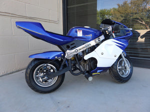40cc Premium Gas Pocket Bike 4-Stroke in blue/white combo facing forward revealing throttle side, aluminum pull start, and right foot peg