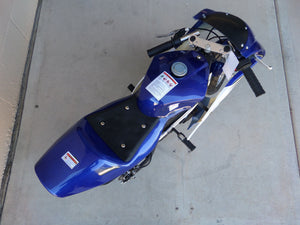 Birds eye view of 40cc Premium Gas Pocket Bike 4-Stroke in blue/white combo with handles sticking out. Full top of body in blue paint