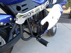 40cc Premium Gas Pocket Bike 4-Stroke in blue/white combo right foot peg close up