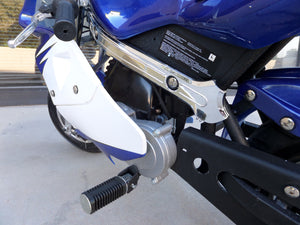 40cc Premium Gas Pocket Bike 4-Stroke in blue/white combo left foot peg close up