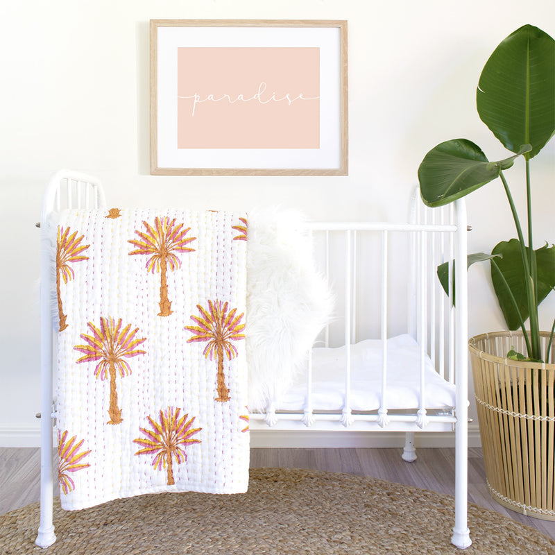Mini Kantha- Peachy Palm