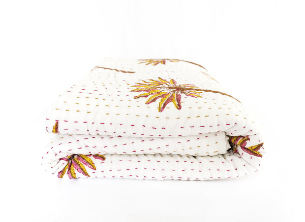 (SECONDS) Peachy Palm Kantha Quilt (QUEEN-KING)
