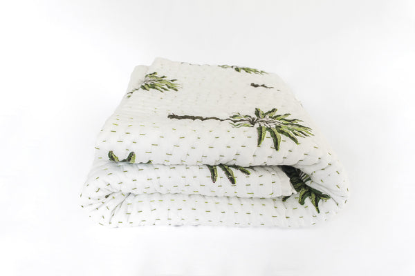 (SECONDS) Boho Palm Kantha Quilt (QUEEN-KING)