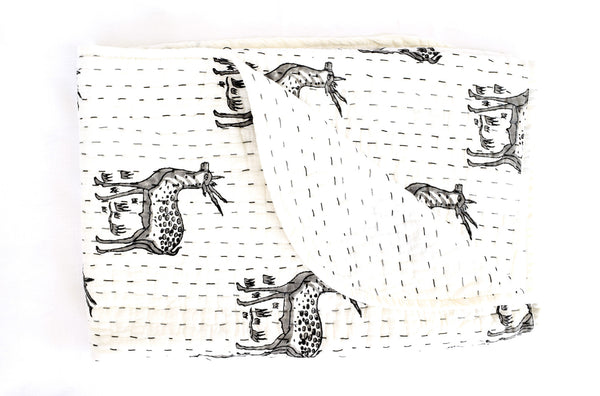 Mini Kantha- Deer oh Deer