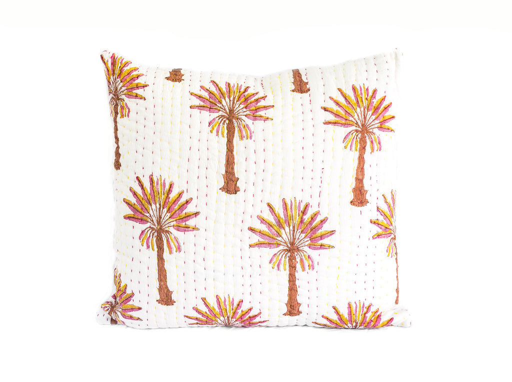 Peachy Palm Kantha Euro Cover (Back Soon)