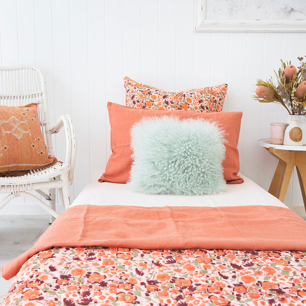 Sunset Poppy Kantha Quilt (SINGLE)