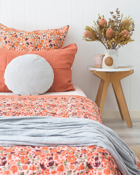 Sunset Poppy Kantha Quilt (SINGLE-DOUBLE)