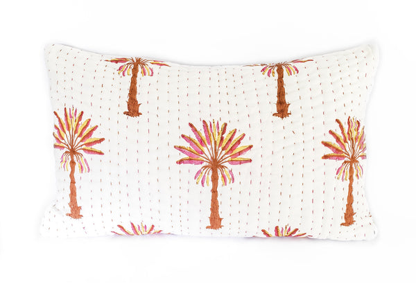 Peachy Palm Kantha Pillow Cover