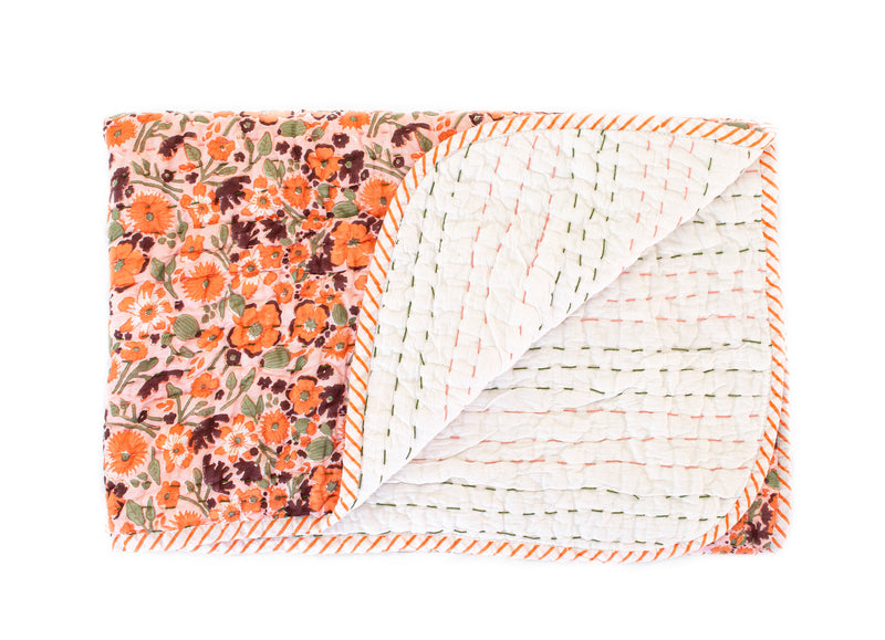 Mini Kantha- Sunset Poppy
